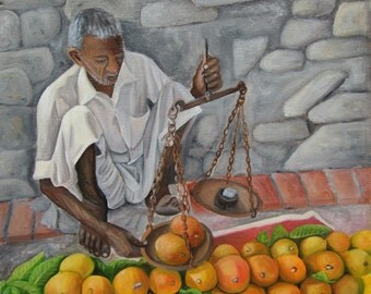 original oil painting print on quality paper -INDIAN MANGO SELLER in Rishikesh -archival paper