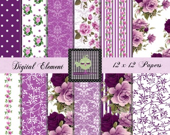Digital Paper, Scrapbook Paper, Lilac and Lavender Floral Rose Paper, Digital Purple Rose Paper, Wedding Paper, Shabby Chic. No.V7.14.DA