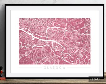 Glasgow Map - City Street Map of Glasgow Scotland - Art Print Watercolor Illustration Wall Art Home Decor Gift - Colour Series PRINT