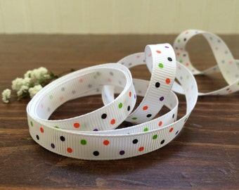 "3/8"" Halloween Dots Grosgrain Ribbon - Polka Dot Halloween Ribbon - Halloween Decor- 5, 10, 25, 50 yards - HBC101013-03850208"