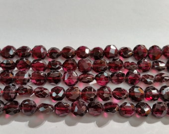 Garnet Faceted Buff Coin 7mm, Length of strand 15""