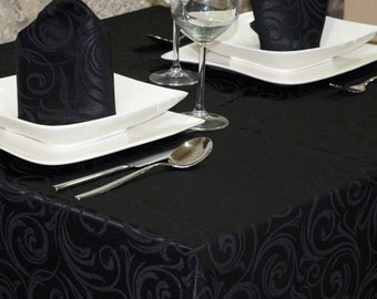 Luxury Black Tablecloth - Anti Stain Proof Resistant - Large sizes - Ref. Lyon