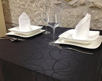 Luxury Black Tablecloth - Anti Stain Proof Resistant - Large sizes - Ref. Lines