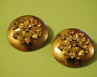 Vintage Silver Tone & Rhinestone Clip On Earrings