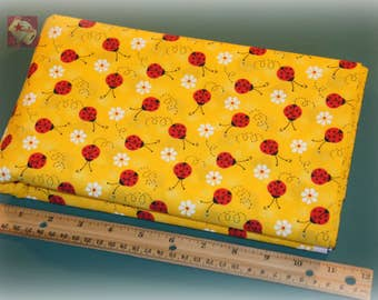 2 Yards Novelty Cotton Fabric Ladybug With Daisy Yellow NEW