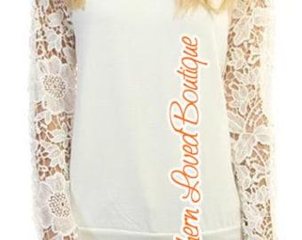 ON SALE!! Crochet Detail Long Sleeve Womens Juniors Top Ivory