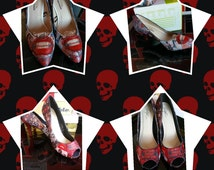 The Rocky Horror Picture Show Shoes Platform or Stilleto Cosplay Columbia Magenta Custom Bespoke Unisex Transvestite Bling Halloween