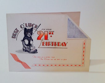 Vintage 21st Best O'Luck Birthday card (unused)