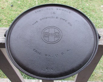 1925-40 Block Griswold No 14 Cast Iron Griddle with Bail Handle pn 618    g096