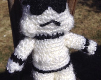 Free shipping washable Amigurumi crochet stuffed toy space trooper (from Lucy Collins book)