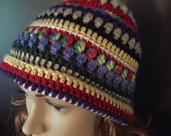 Blues reds and golds beanie
