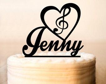 Music Cake Topper, Note Cake Topper, Music Birthday Cake Topper,Cake Topper + name, Custom Birthday Cake Topper, love Music Topper (0142)