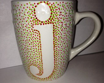 "Dotted Initial ""j"" Mug (with 2 rows of decorative beading)"