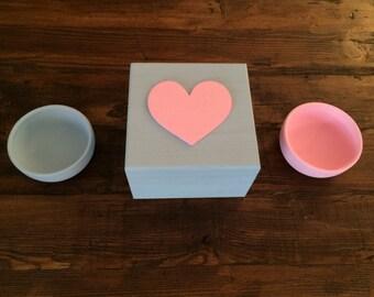 Heart Keepsake Box With Matching Bowls- Pink and Blue/Grey