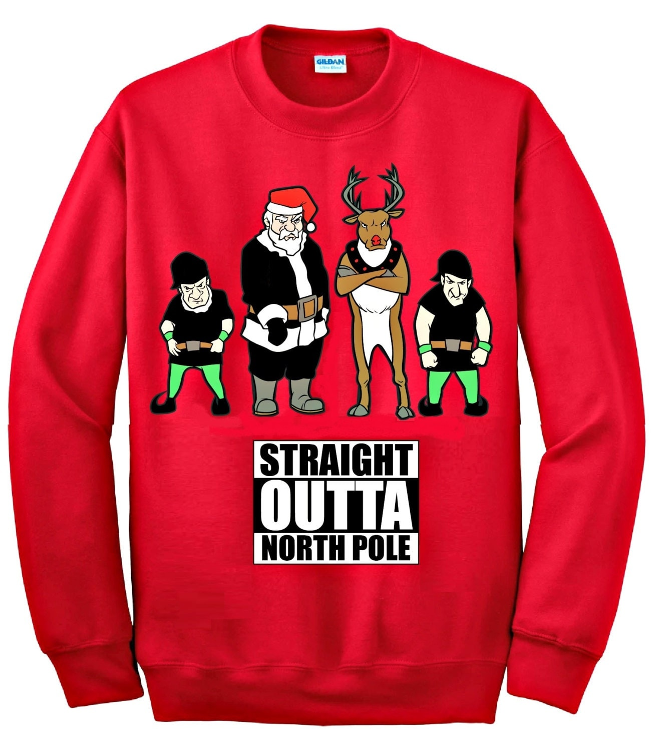 Straight Outta North Pole © Ugly Christmas Sweater Funny