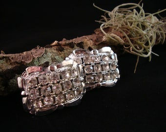 Vintage High End Rhinestone Shoe Clips Sweater Clips TIP TOE Silver Tone RARE!
