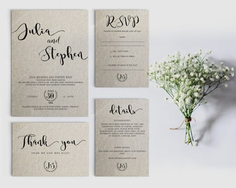 Digital Wedding Invitation   Printable Wedding Invitation Set    Personalized Wedding Invitation   Calligraphy Wedding Invitation