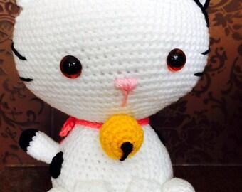 Crochet White Kitten Amigurumi, Cat, plush toy, cute, handmade, gift, meow, baby, kids, stuffed animal