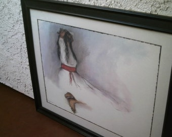 "R.C.Gorman Art Print Native American Woman Signed from 1976 Framed Matted in Glass 31.50"" x 25.50"""