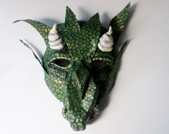 Dragon Mask, fantasy creature, wearable,horned lizard creature, green and gold