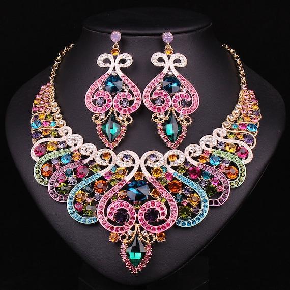 Rainbow Statement Necklace Set(Necklace/Earrings),Bridal Jewelry Set,Wedding Jewelry Set Prom Jewelry Set, Bridesmaid Necklace Set