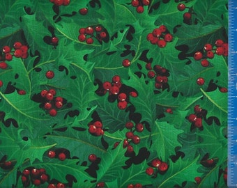 Holly Green Holiday Winter Fabric, Home Decor Quilt or Craft