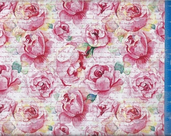 Valentine Roses and Words, Quilt or Craft Fabric, Fabric