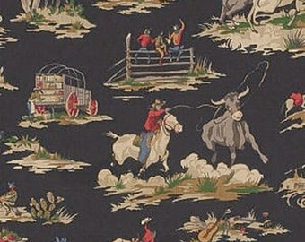 Waverly Wild West Western (Black), Fabric Printed Decorative Drapery Home Décor
