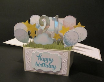 Handmade 3D card in a box  - Balloons Personalised