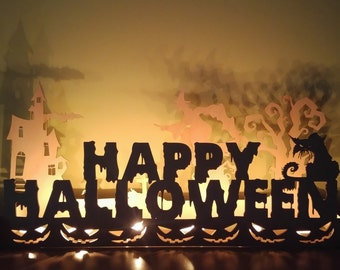 Halloween Decorations Wooden Candle Holder. Fireplace Decor, Halloween Candlestick, Halloween Decor, Happy Halloween Signs