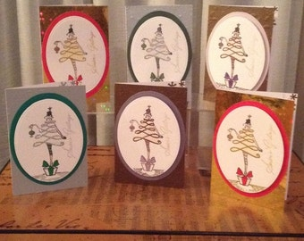 "Set of 6 Hand Crafted ""Seasons Greetings"" Cards"
