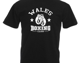 Wales Boxing Club Adults Mens Black T Shirt Sizes From Small - 3XL