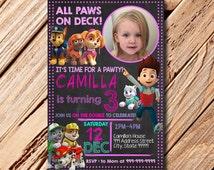 Paw Patrol Birthday Invitation, Girl Paw Patrol Invitation, Girl Paw Patrol Birthday, Paw Patrol Invitation, Chalkboard Invitation, Girl