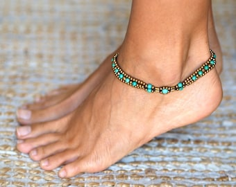 Turquoise Anklet // Turquoise Ankle Bracelet // Anklets For Women // Women Anklet // Indian Anklet // Beach Anklet // Hippie Anklet