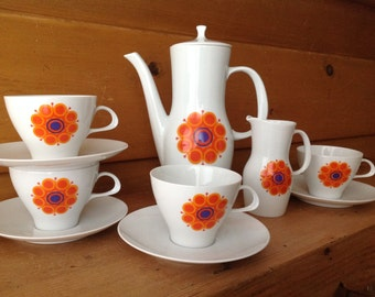 Mod Rosenthal Coffee Tea Set Orange Flowers Thomas Germany Excellent
