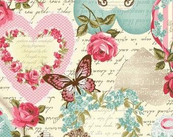 Vintage Collage - Per Yd - Cotton-Linen Blend