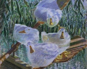 "Ducks print, A4 fine art giclee print of ""Oarsome Foursome"""
