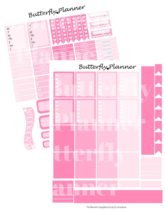Pink Printable Planner Stickers, 2 Pages, Digital Download