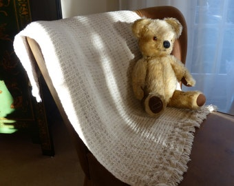 Baby blanket: handwoven, organic cotton and linen