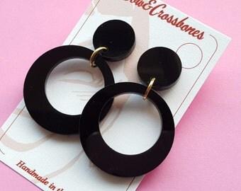 Black Hoop Earrings - plain