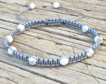White Turquoise Beaded Anklet, White Turquoise Beaded Bracelet, Adjustable Cord Macrame Friendship Bracelet, Surf Bracelet, Boho Jewelry