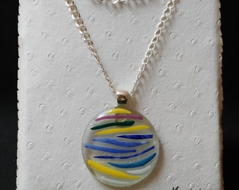 Multicolor round necklace glass fusing. Pendant modern multicolored glass fusing. Idea gifts for them.