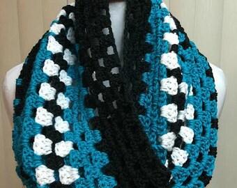Crochet Cowl, Crochet Scarf, Granny Stitch Cowl, Cowl Scarf, Black Scarf, Granny Stitch Scarf, Crocheted Scarf, Cowl, Scarf