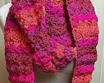 Crochet Scarf, Infinity Scarf, Chunky Scarf, Pink Scarf, Bright Pink Scarf, Winter Scarf, Knit Scarf, Scarf, Circle Scarf, Chunky Cowl, Cowl