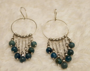 Beautiful sterling silver earrings with grade A apatite gemstones