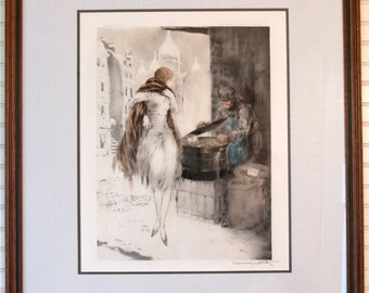 "Louis Icart ""Chestnut Vendor"" Etching Hand Colored 1928"