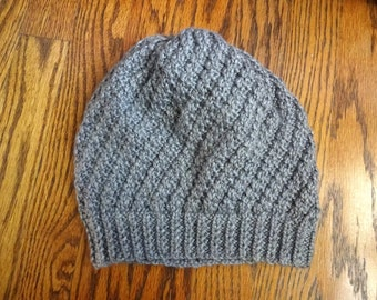 handknit hat, slouchy, beanie
