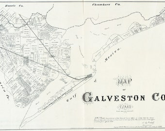 1879 Map of Galveston County Texas