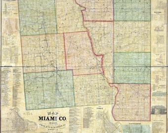 1858 Farm Line Map of Miami County Ohio Piqua Troy