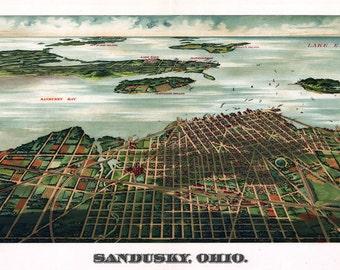 1898 Panoramic Map of Sandusky Ohio